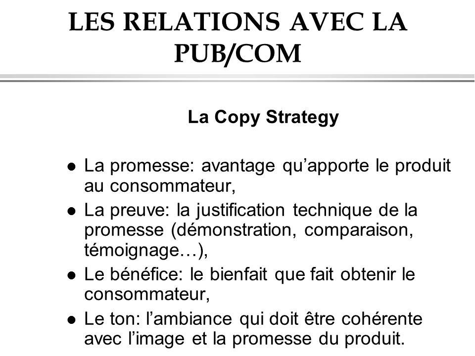 LES RELATIONS AVEC LA PUB/COM La Copy Strategy l La promesse: avantage quapporte le produit au consommateur, l La preuve: la justification technique d