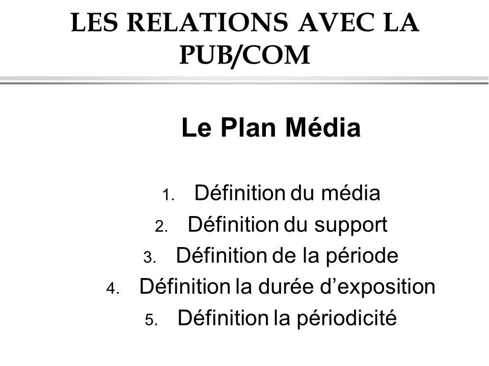 LES RELATIONS AVEC LA PUB/COM Le Plan Média 1. Définition du média 2. Définition du support 3. Définition de la période 4. Définition la durée dexposi