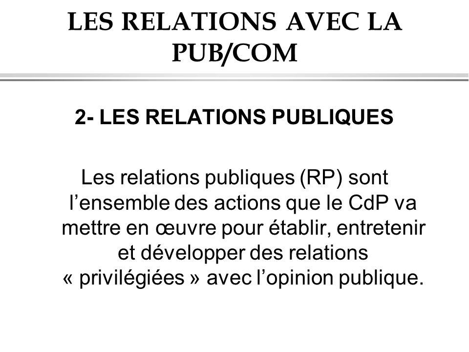 LES RELATIONS AVEC LA PUB/COM 2- LES RELATIONS PUBLIQUES Les relations publiques (RP) sont lensemble des actions que le CdP va mettre en œuvre pour ét