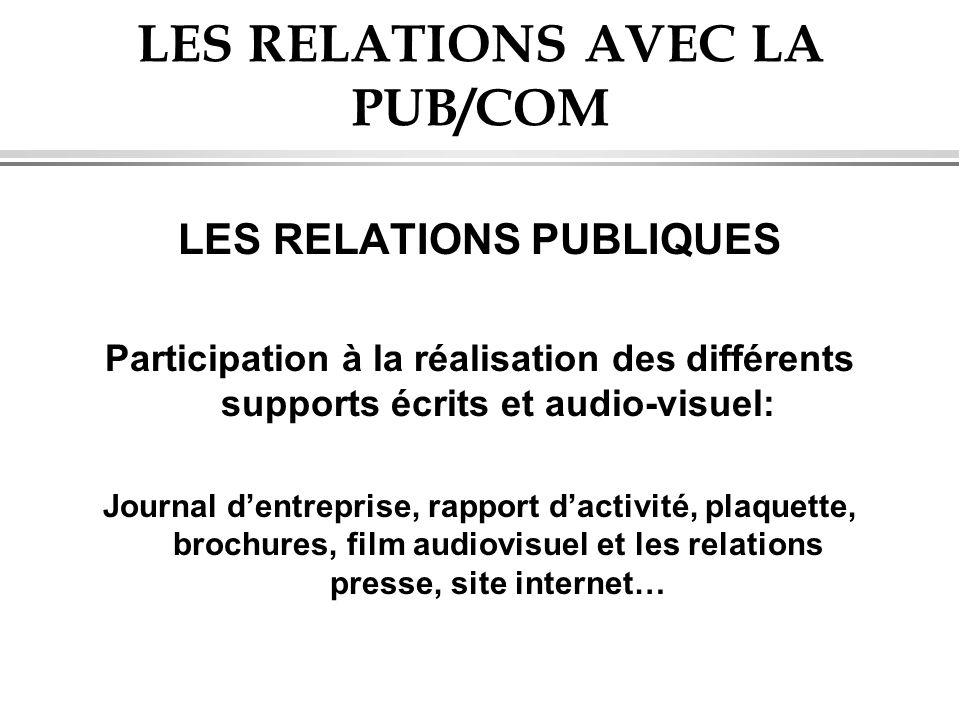 LES RELATIONS AVEC LA PUB/COM LES RELATIONS PUBLIQUES Participation à la réalisation des différents supports écrits et audio-visuel: Journal dentrepri