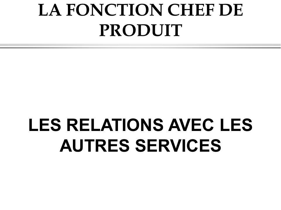 LA FONCTION CHEF DE PRODUIT LES RELATIONS AVEC LES AUTRES SERVICES