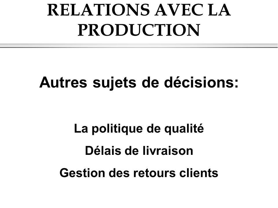 RELATIONS AVEC LA PRODUCTION Autres sujets de décisions: La politique de qualité Délais de livraison Gestion des retours clients