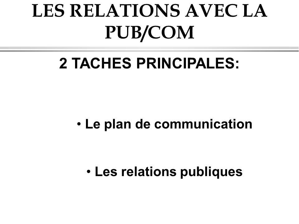 LES RELATIONS AVEC LA PUB/COM 2 TACHES PRINCIPALES: Le plan de communication Les relations publiques