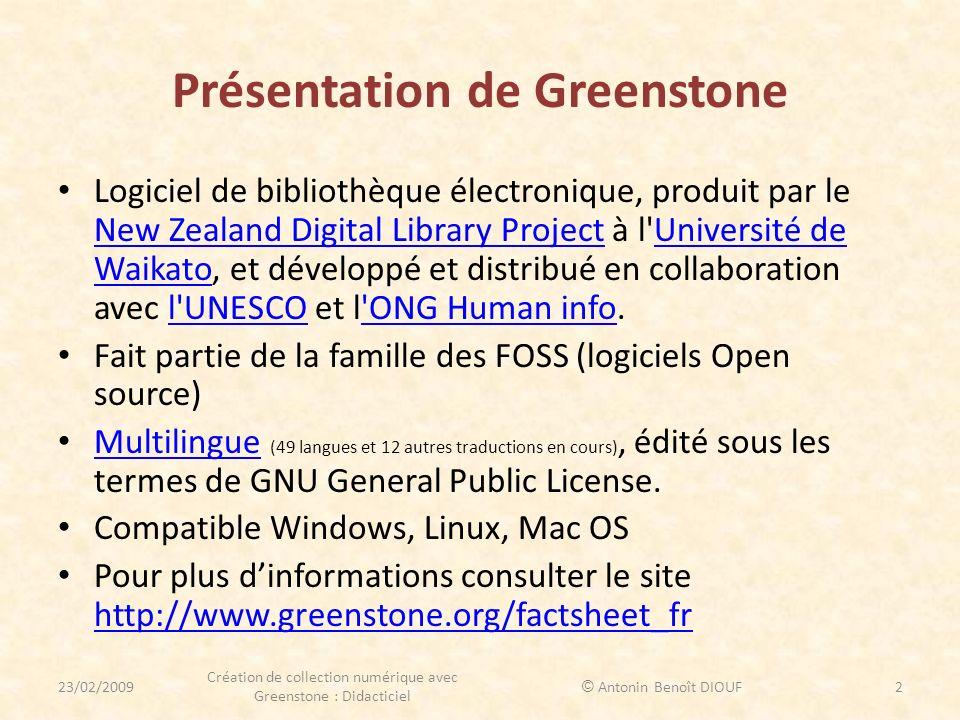 Présentation de Greenstone Logiciel de bibliothèque électronique, produit par le New Zealand Digital Library Project à l'Université de Waikato, et dév
