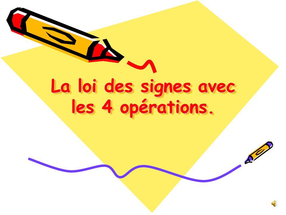 La loi des signes avec les 4 opérations.