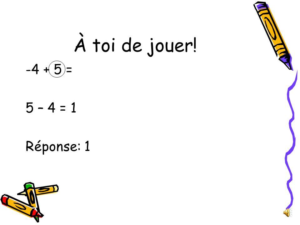 À toi de jouer! -4 + 5 = 5 – 4 = 1 Réponse: 1