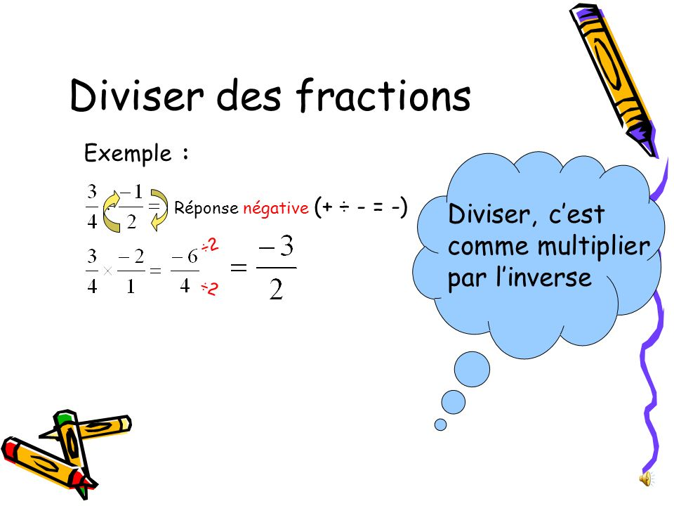 Diviser des fractions Exemple : Réponse négative (+ ÷ - = -) ÷2 Diviser, cest comme multiplier par linverse