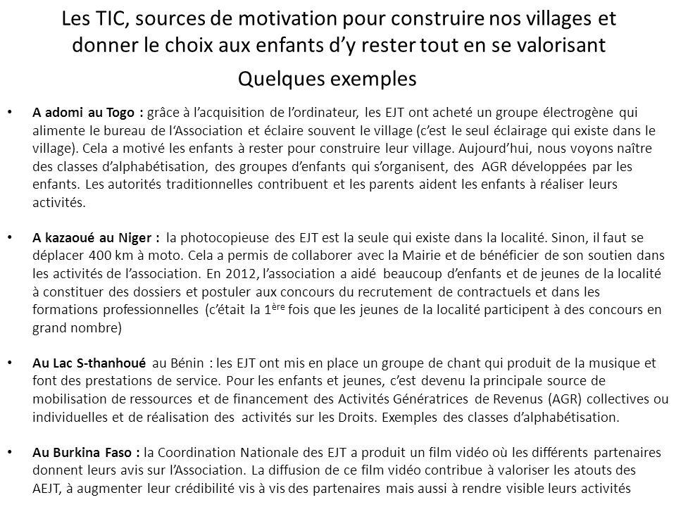 Les TIC, sources de motivation pour construire nos villages et donner le choix aux enfants dy rester tout en se valorisant A adomi au Togo : grâce à l