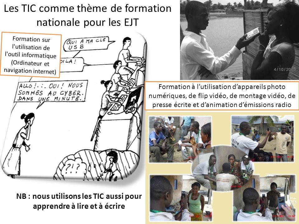 Les TIC comme thème de formation nationale pour les EJT Formation sur l'utilisation de l'outil informatique (Ordinateur et navigation internet) Format