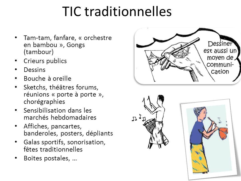 TIC traditionnelles Tam-tam, fanfare, « orchestre en bambou », Gongs (tambour) Crieurs publics Dessins Bouche à oreille Sketchs, théâtres forums, réun