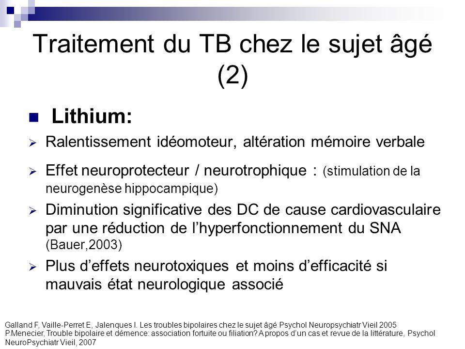 Traitement du TB chez le sujet âgé (2) Lithium: Ralentissement idéomoteur, altération mémoire verbale Effet neuroprotecteur / neurotrophique : (stimul