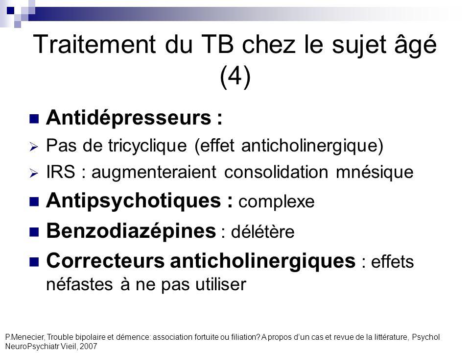 Traitement du TB chez le sujet âgé (4) Antidépresseurs : Pas de tricyclique (effet anticholinergique) IRS : augmenteraient consolidation mnésique Anti