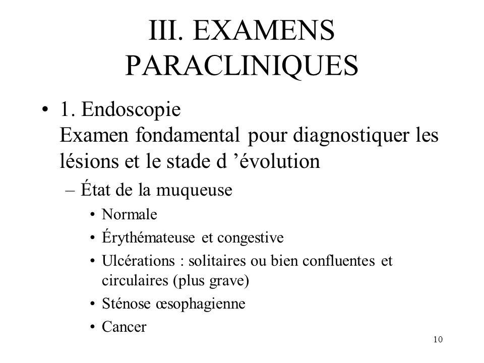 10 III. EXAMENS PARACLINIQUES 1. Endoscopie Examen fondamental pour diagnostiquer les lésions et le stade d évolution –État de la muqueuse Normale Éry