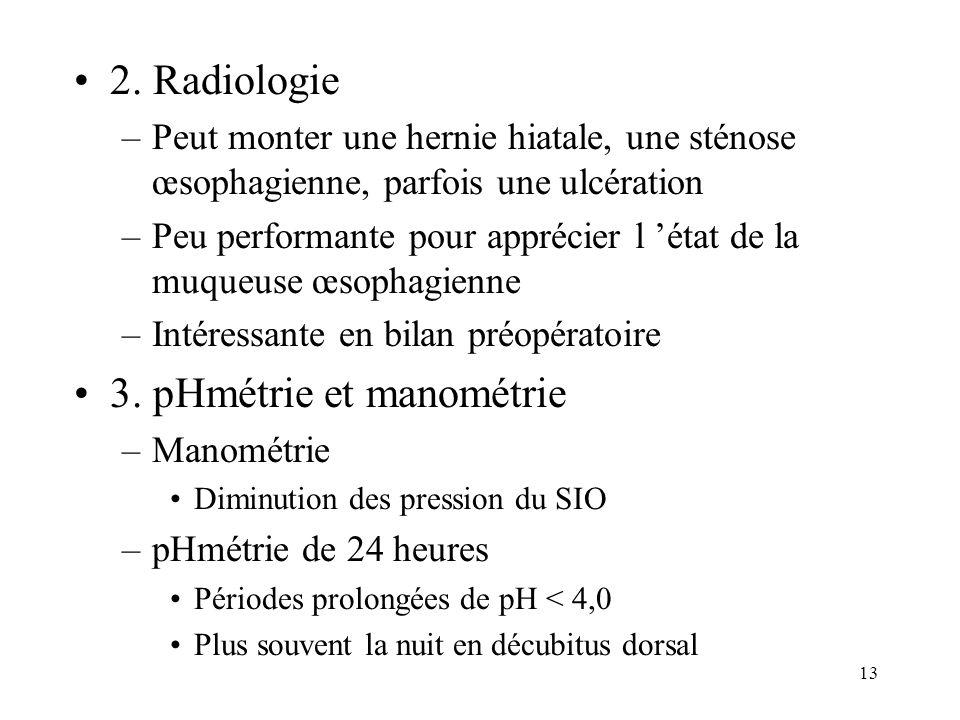 13 2. Radiologie –Peut monter une hernie hiatale, une sténose œsophagienne, parfois une ulcération –Peu performante pour apprécier l état de la muqueu