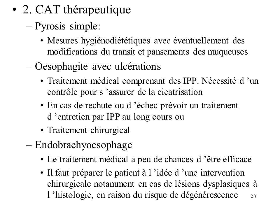 23 2. CAT thérapeutique –Pyrosis simple: Mesures hygiénodiététiques avec éventuellement des modifications du transit et pansements des muqueuses –Oeso