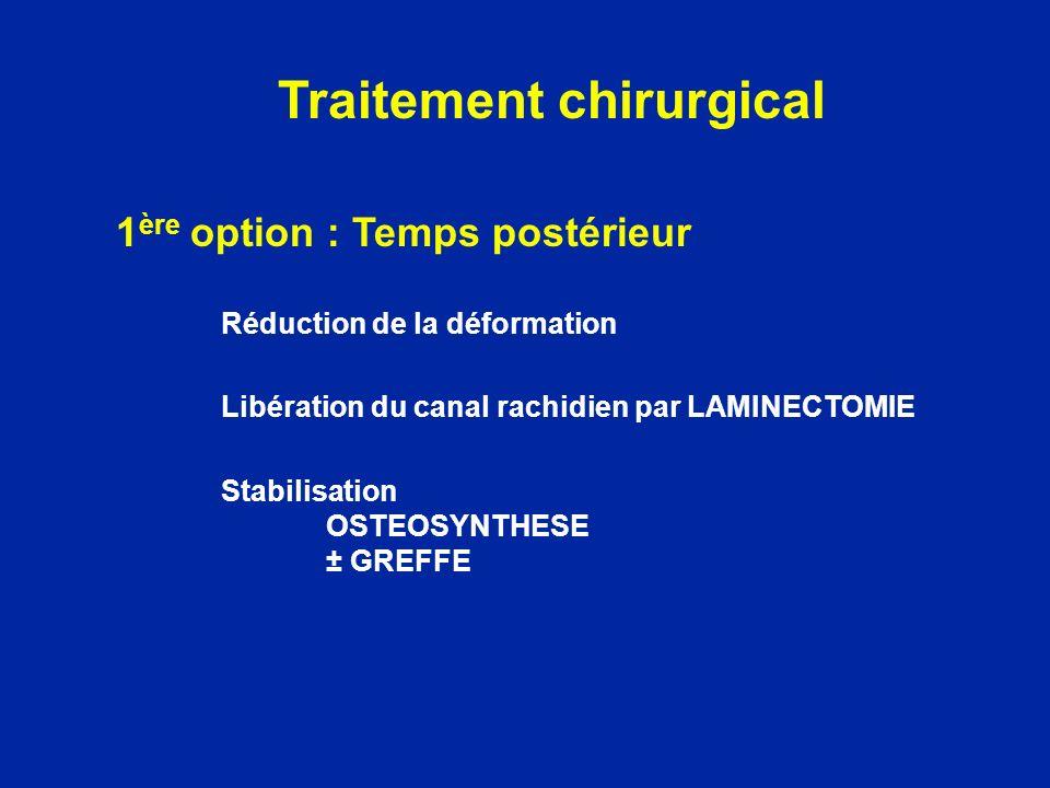 1 ère option : Temps postérieur Réduction de la déformation Libération du canal rachidien par LAMINECTOMIE Stabilisation OSTEOSYNTHESE ± GREFFE Traite