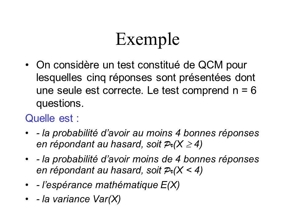 Exemple On considère un test constitué de QCM pour lesquelles cinq réponses sont présentées dont une seule est correcte. Le test comprend n = 6 questi