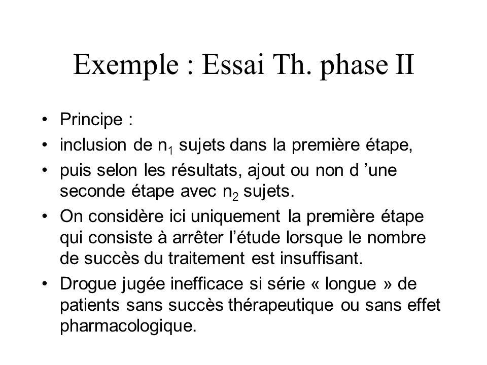 Exemple : Essai Th. phase II Principe : inclusion de n 1 sujets dans la première étape, puis selon les résultats, ajout ou non d une seconde étape ave