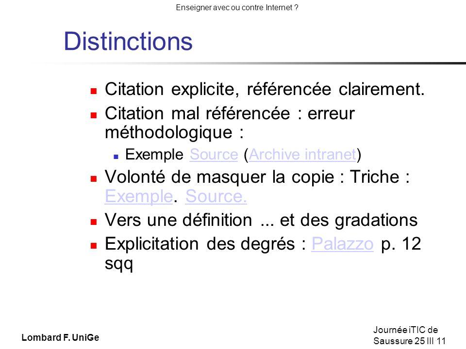Enseigner avec ou contre Internet .Journée iTIC de Saussure 25 III 11 Répression / éducation .