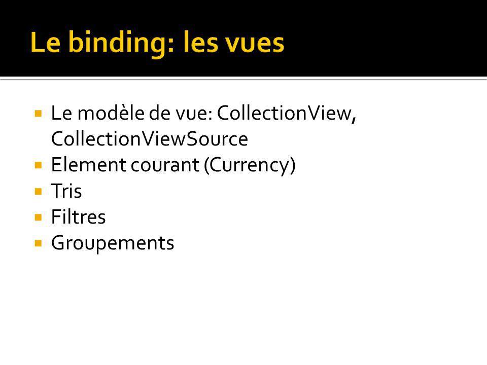 Le modèle de vue: CollectionView, CollectionViewSource Element courant (Currency) Tris Filtres Groupements
