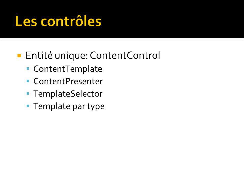 Entité unique: ContentControl ContentTemplate ContentPresenter TemplateSelector Template par type