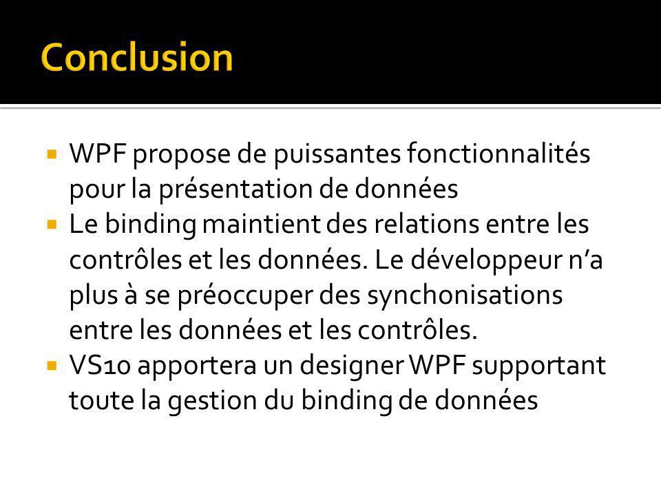 WPF propose de puissantes fonctionnalités pour la présentation de données Le binding maintient des relations entre les contrôles et les données.