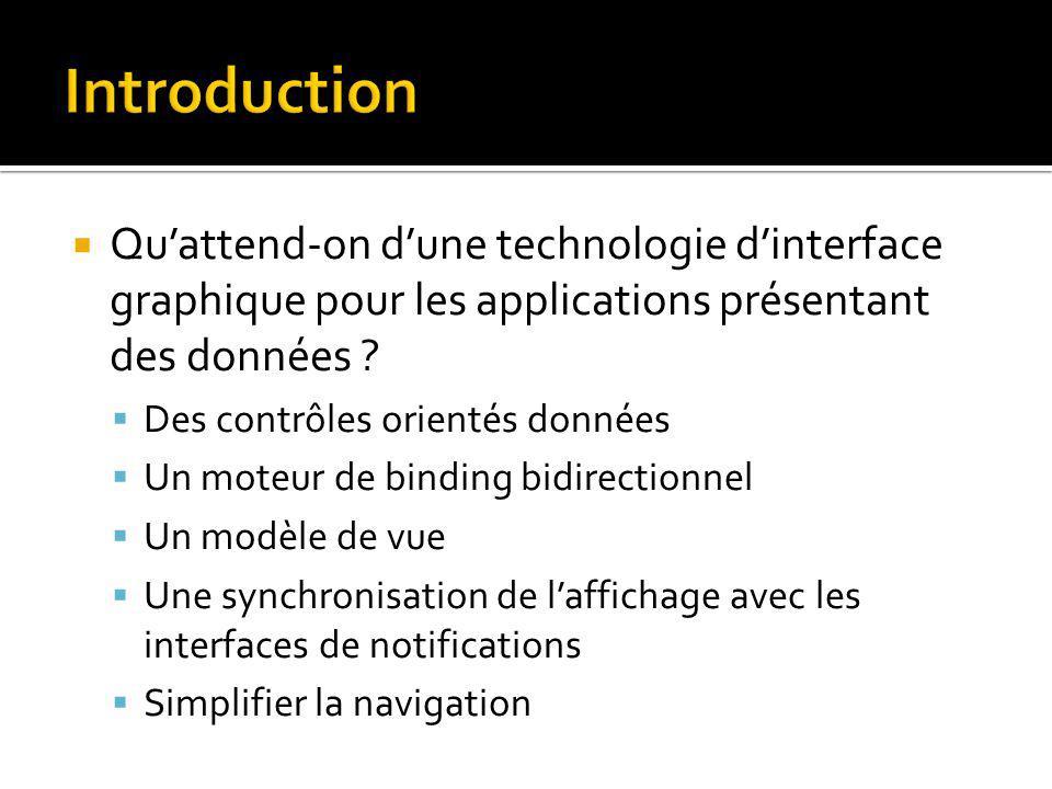 Quattend-on dune technologie dinterface graphique pour les applications présentant des données .