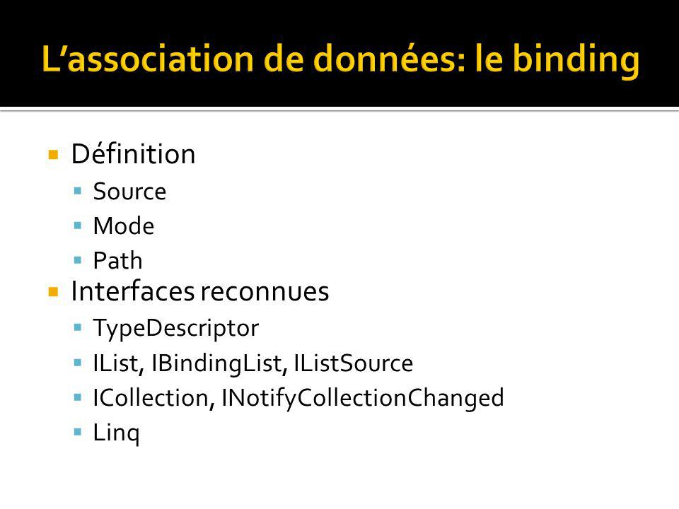 Définition Source Mode Path Interfaces reconnues TypeDescriptor IList, IBindingList, IListSource ICollection, INotifyCollectionChanged Linq