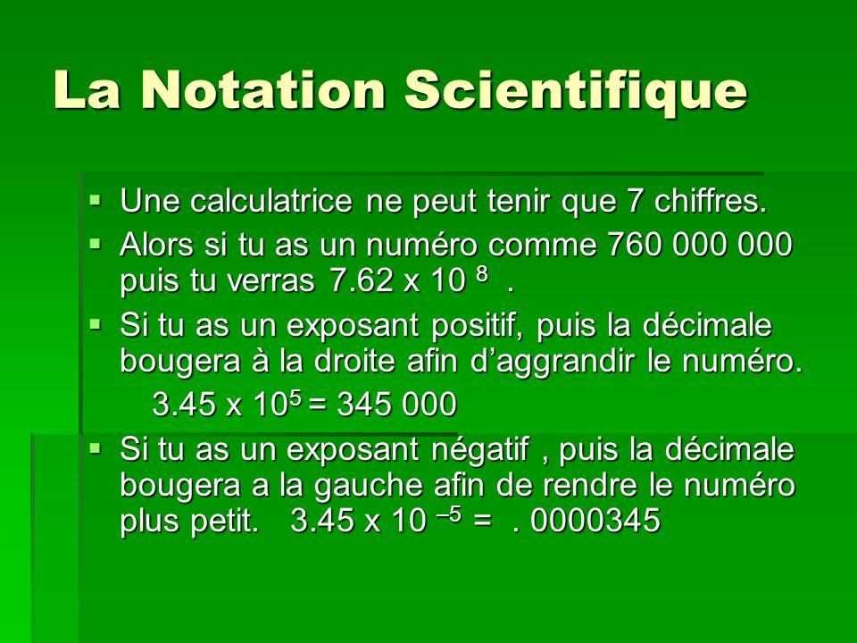 La Notation Scientifique Une calculatrice ne peut tenir que 7 chiffres. Une calculatrice ne peut tenir que 7 chiffres. Alors si tu as un numéro comme