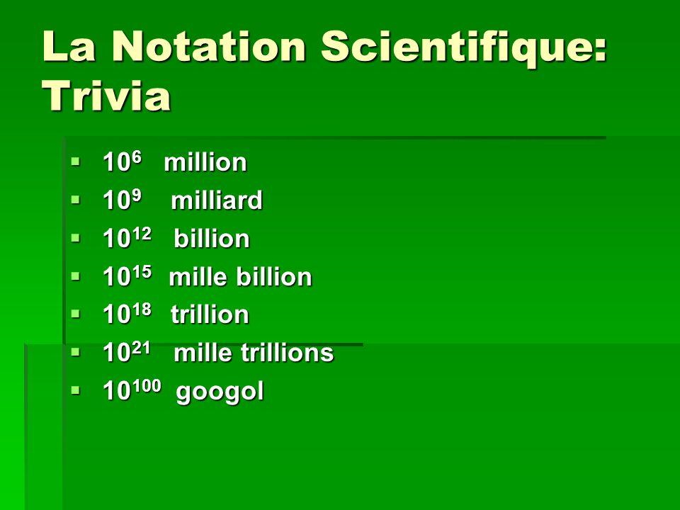 La Notation Scientifique: Trivia 10 6 million 10 6 million 10 9 milliard 10 9 milliard 10 12 billion 10 12 billion 10 15 mille billion 10 15 mille bil
