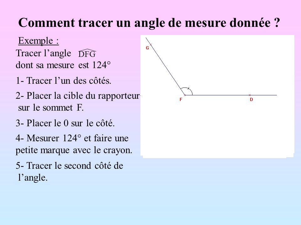 Comment tracer un angle de mesure donnée ? 1- Tracer lun des côtés. 2- Placer la cible du rapporteur sur le sommet F. 3- Placer le 0 sur le côté. 4- M