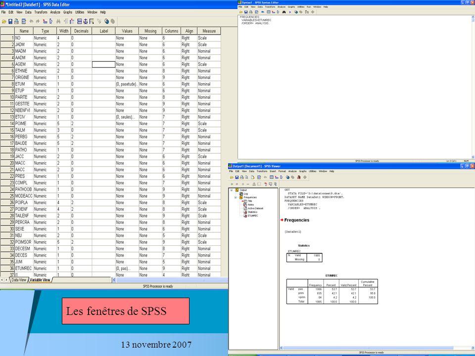 13 novembre 2007 Exemple 2 – Régression (2) REGRESSION /DESCRIPTIVES MEAN STDDEV CORR SIG N /MISSING LISTWISE /STATISTICS COEFF OUTS R ANOVA COLLIN TOL /CRITERIA=PIN(.05) POUT(.10) /NOORIGIN /DEPENDENT Pnaiss /METHOD=ENTER POIDMK AGEM Tabac Probur /SCATTERPLOT=(*ZRESID,*ZPRED ) /RESIDUALS HIST(ZRESID) NORM(ZRESID).