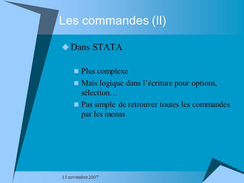 13 novembre 2007 Sortie test t – STATA (I).