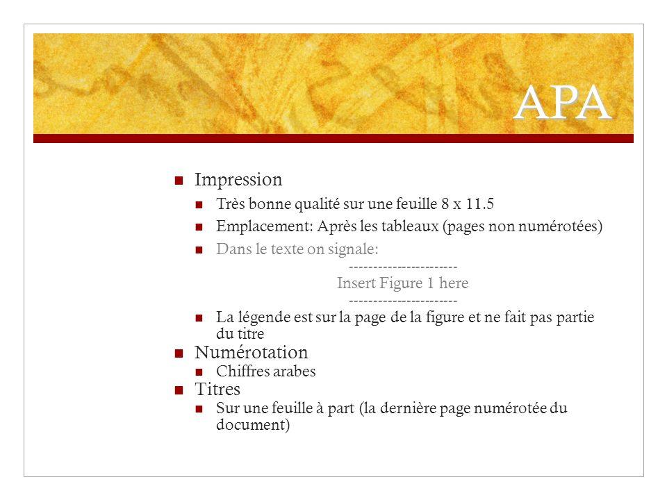 APA Impression Très bonne qualité sur une feuille 8 x 11.5 Emplacement: Après les tableaux (pages non numérotées) Dans le texte on signale: ----------