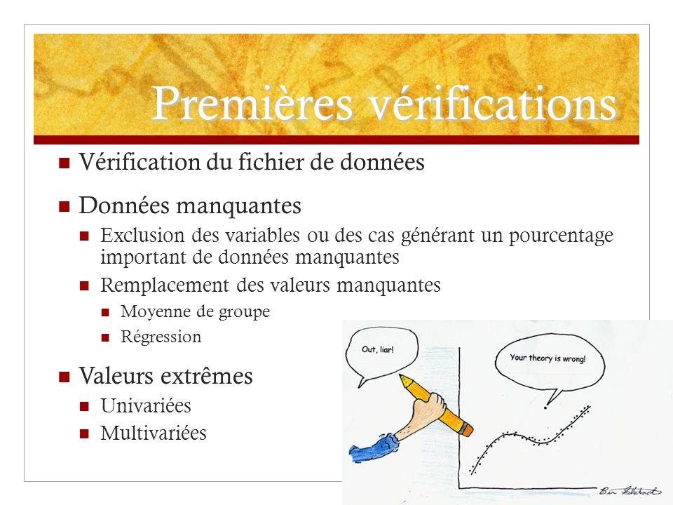 Premières vérifications Vérification du fichier de données Données manquantes Exclusion des variables ou des cas générant un pourcentage important de