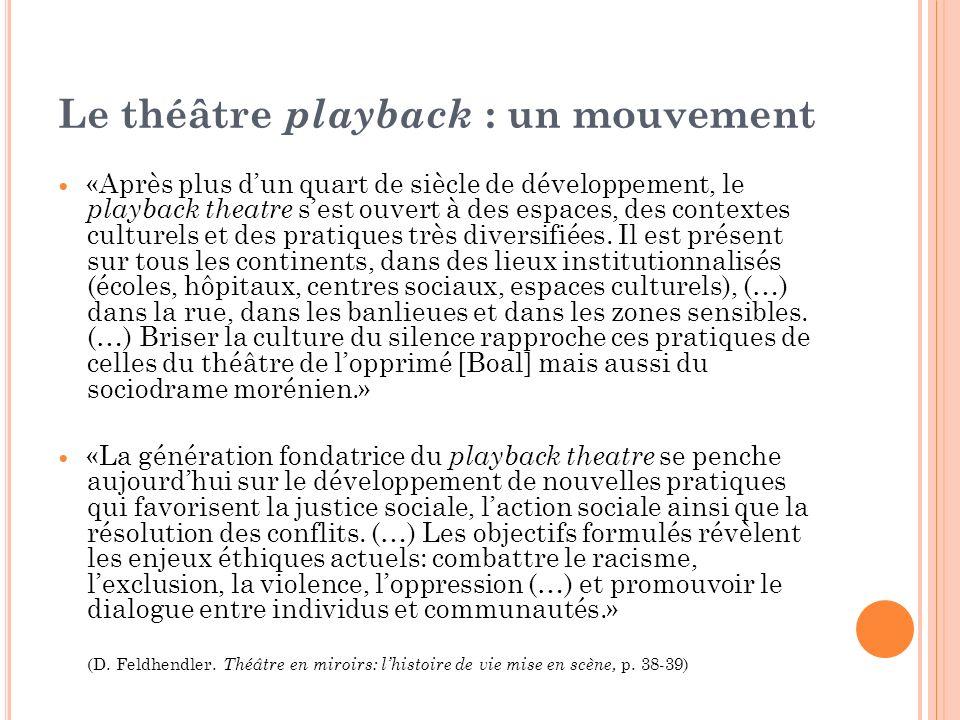 Le théâtre playback : un mouvement «Après plus dun quart de siècle de développement, le playback theatre sest ouvert à des espaces, des contextes cult