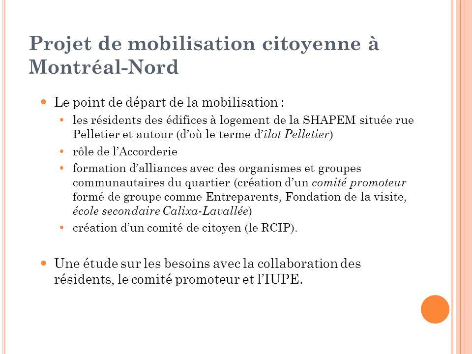 Projet de mobilisation citoyenne à Montréal-Nord Le point de départ de la mobilisation : les résidents des édifices à logement de la SHAPEM située rue
