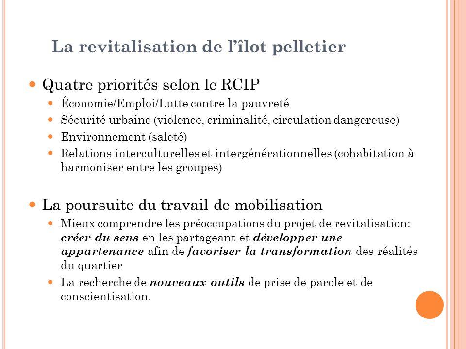 La revitalisation de lîlot pelletier Quatre priorités selon le RCIP Économie/Emploi/Lutte contre la pauvreté Sécurité urbaine (violence, criminalité,