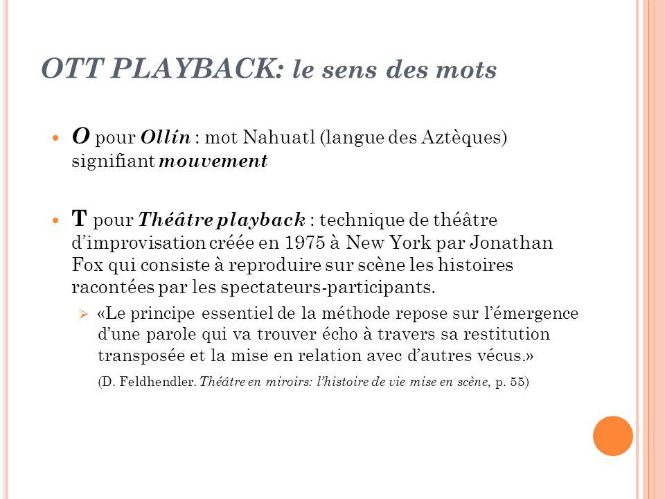 OTT PLAYBACK: le sens des mots O pour Ollín : mot Nahuatl (langue des Aztèques) signifiant mouvement T pour Théâtre playback : technique de théâtre di