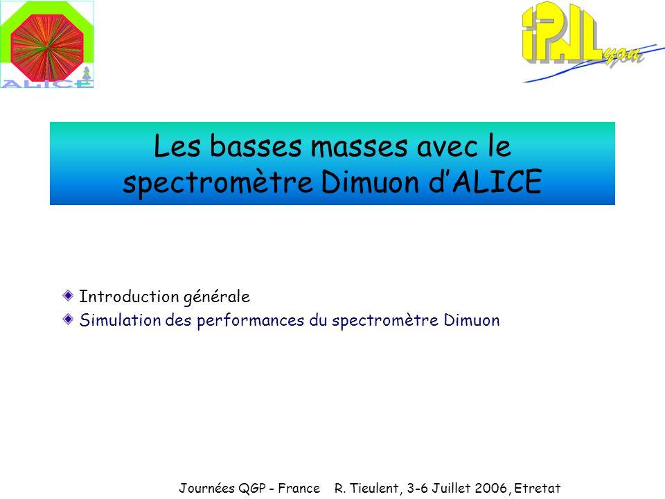 Les basses masses avec le spectromètre Dimuon dALICE Introduction générale Simulation des performances du spectromètre Dimuon Journées QGP - France R.