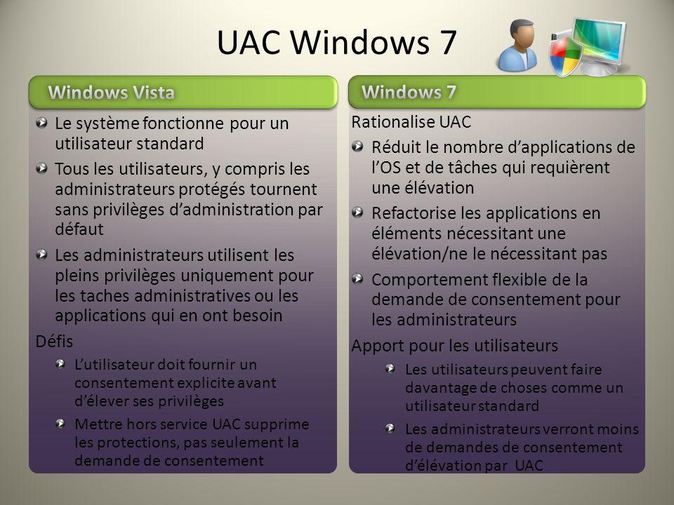 Le système fonctionne pour un utilisateur standard Tous les utilisateurs, y compris les administrateurs protégés tournent sans privilèges dadministrat