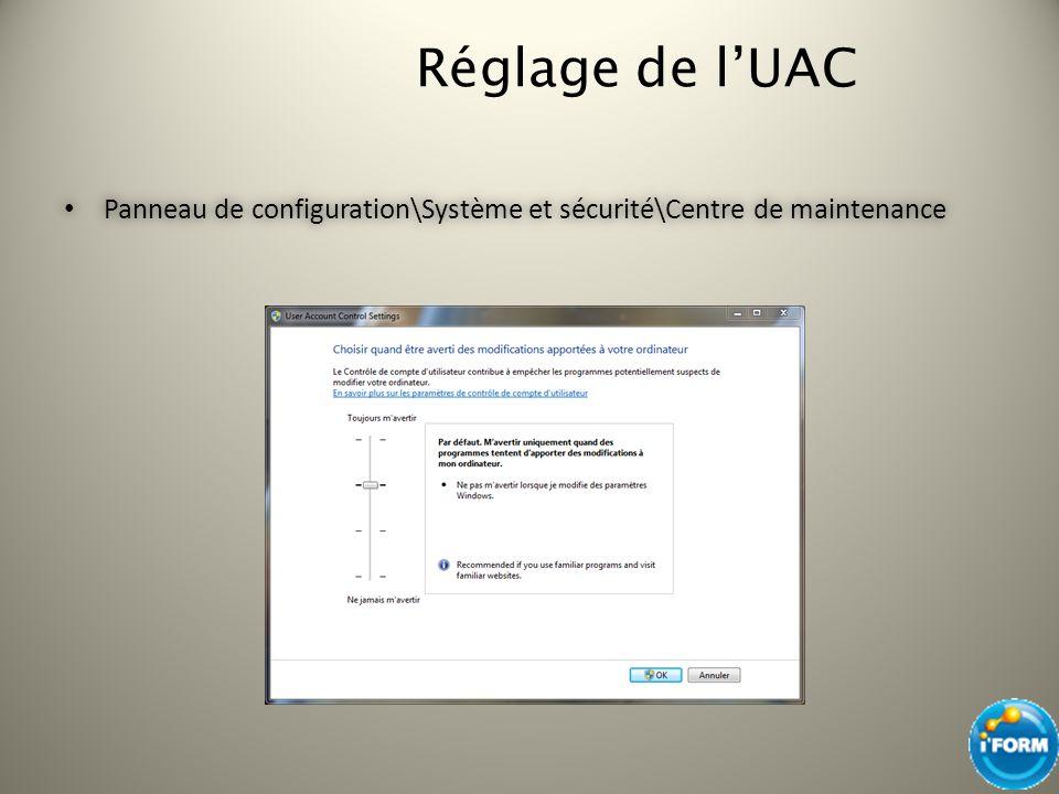 Réglage de lUAC Panneau de configuration\Système et sécurité\Centre de maintenance Panneau de configuration\Système et sécurité\Centre de maintenance