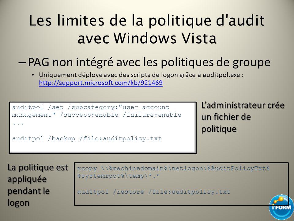 Les limites de la politique d'audit avec Windows Vista – PAG non intégré avec les politiques de groupe Uniquement déployé avec des scripts de logon gr