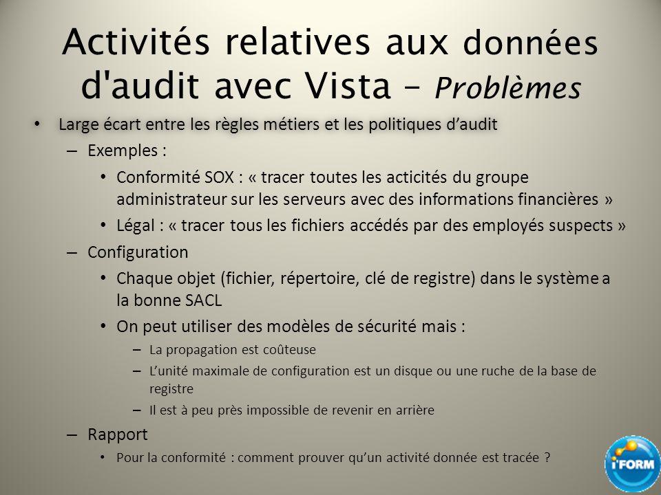 Activités relatives aux données d'audit avec Vista – Problèmes Large écart entre les règles métiers et les politiques daudit Large écart entre les règ