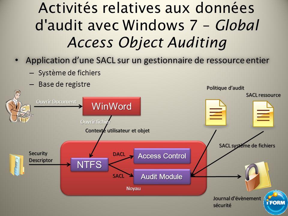 Activités relatives aux données d'audit avec Windows 7 – Global Access Object Auditing Application dune SACL sur un gestionnaire de ressource entier A