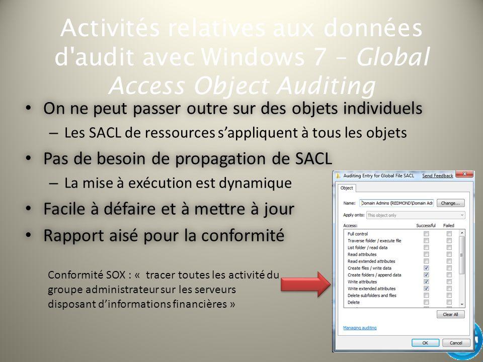Activités relatives aux données d'audit avec Windows 7 – Global Access Object Auditing On ne peut passer outre sur des objets individuels On ne peut p