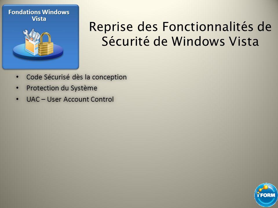 Reprise des Fonctionnalités de Sécurité de Windows Vista Code Sécurisé dès la conception Code Sécurisé dès la conception Protection du Système Protect