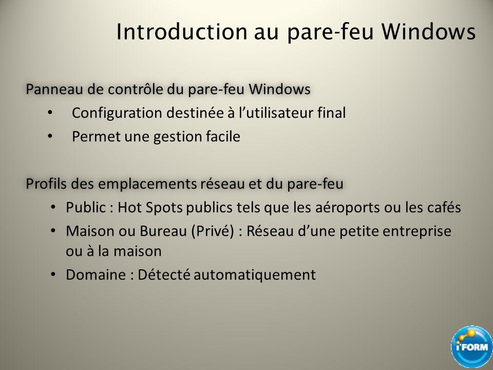 Introduction au pare-feu Windows Panneau de contrôle du pare-feu WindowsPanneau de contrôle du pare-feu Windows Configuration destinée à lutilisateur