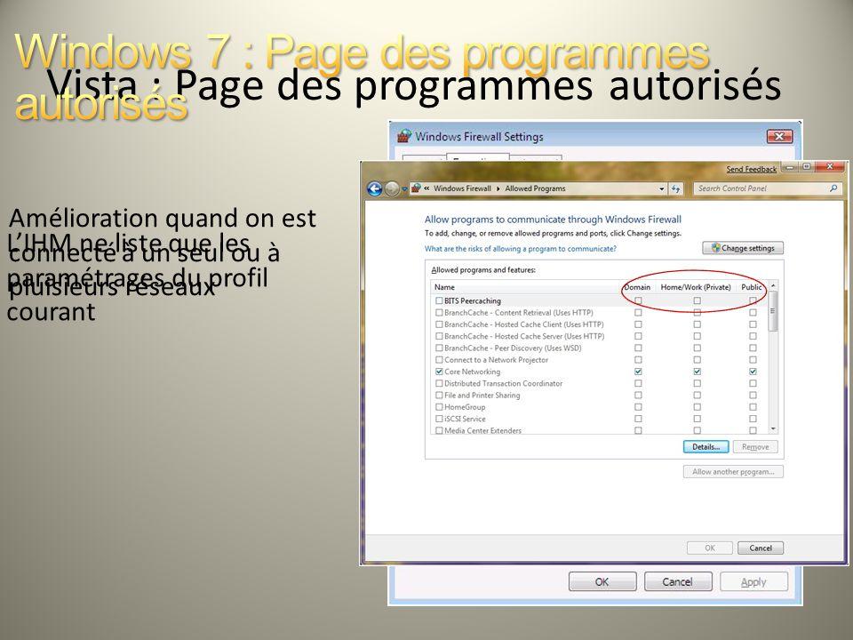 Amélioration quand on est connecté à un seul ou à pluisieurs réseaux LIHM ne liste que les paramétrages du profil courant Vista : Page des programmes
