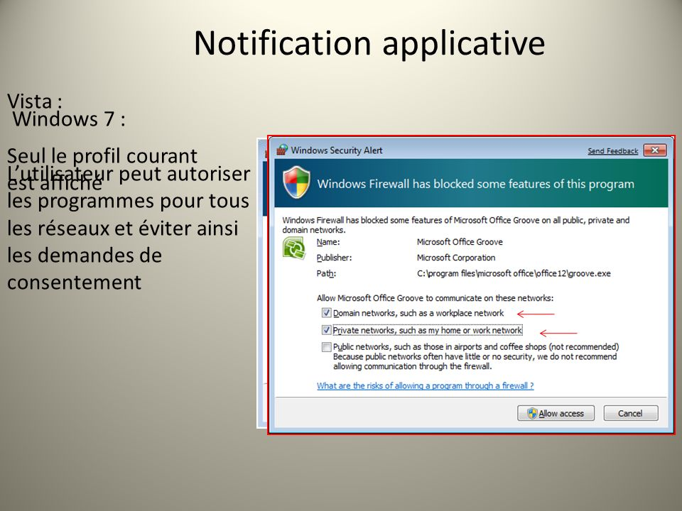 Windows 7 : Lutilisateur peut autoriser les programmes pour tous les réseaux et éviter ainsi les demandes de consentement Vista : Seul le profil coura